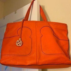 Beautiful Orange Tory Burch Zippered tote